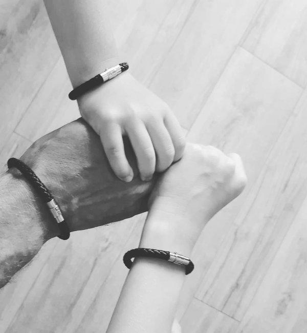 KAYA sieraden Set 3 Leren Armbanden met Initialen Gravure