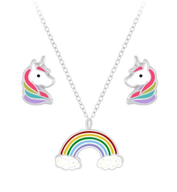 KAYA sieraden Zilveren set 'Rainbow & Unicorn' met ketting en oorbellen