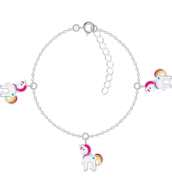 KAYA sieraden Zilveren armbandje  'Colorful Unicorn' met drie unicorns!