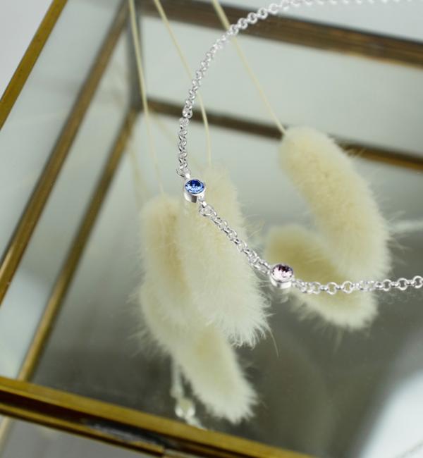Gegraveerde sieraden Ketting met Geboortesteen naar Keuze