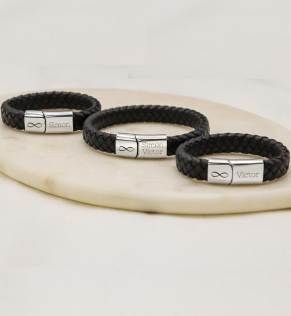 Sieraden graveren 3 Gegraveerde Leren armbanden | Kies de kleur