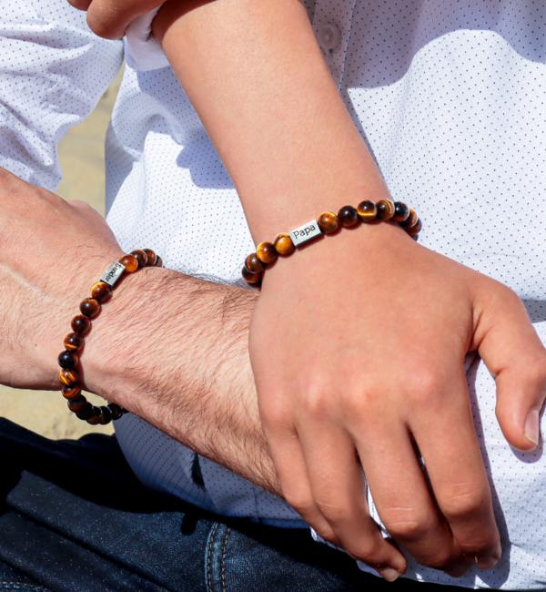 KAYA sieraden Armbanden Set Papa & Zoon met Tijgeroog Kralen