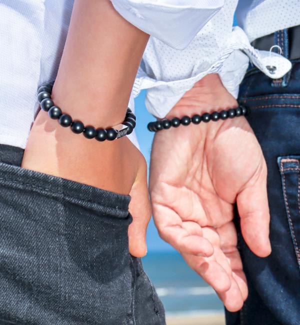KAYA sieraden Jongens Armband met Zwarte Onyx Kralen