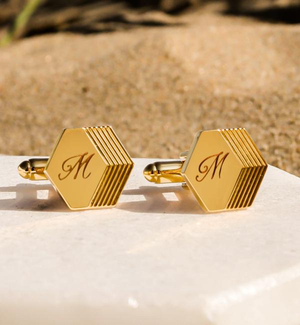 KAYA sieraden Engraved Cufflinks 'Hexagon' - Copy