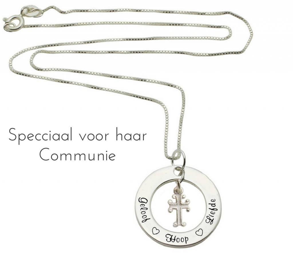 KAYA Communion silver necklace 'Faith Hope ♡ ♡ love' with heart