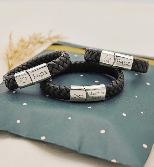 KAYA sieraden Set 3 Leren Armbanden met Gravure