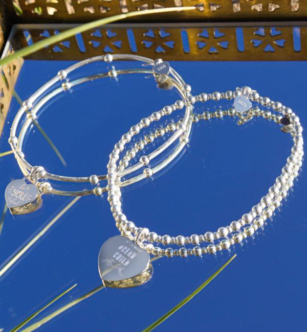 KAYA sieraden 2- Delige Set Zilveren Armbanden 'Bali' met Tekstbedel