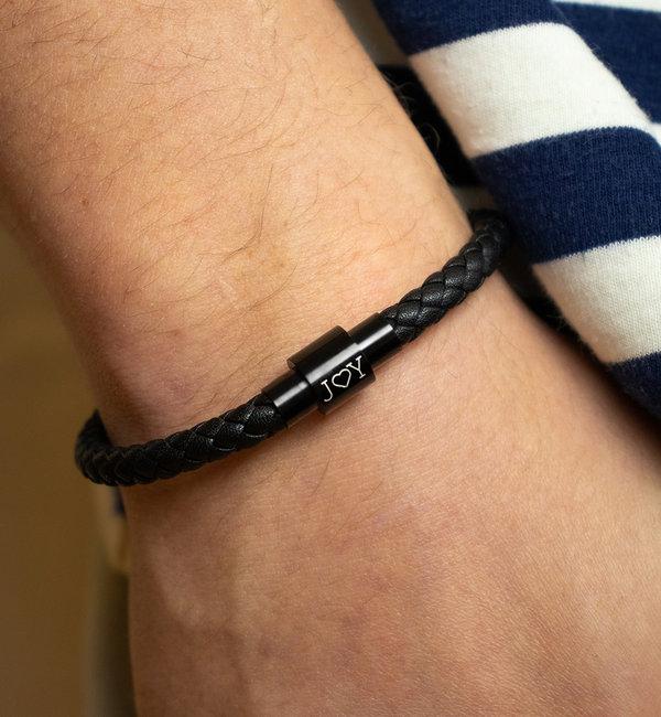KAYA sieraden Zwarte Leren Herenarmband met Sterrenbeeld