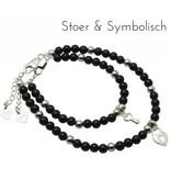 KAYA sieraden Zilveren Mom & Me armbanden 'Black Onyx' met sleutel en slotje