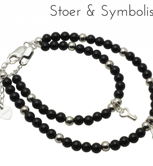 KAYA sieraden Silver bracelets mom & me 'onyx' key to my heart '