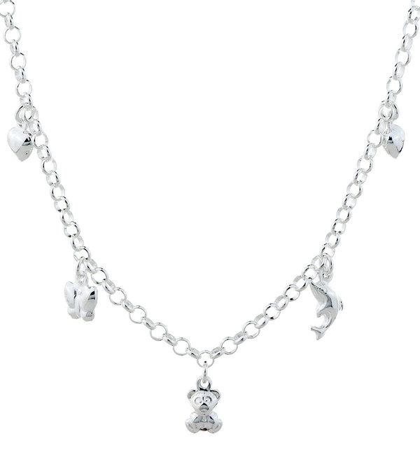 KAYA sieraden Zilveren Bedelketting met 5 bedeltjes