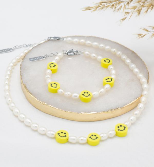 KAYA sieraden Smiley Armband met Parels