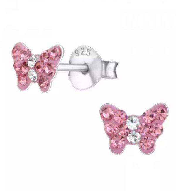 KAYA sieraden Silver earrings kids 'cute pink butterflies'