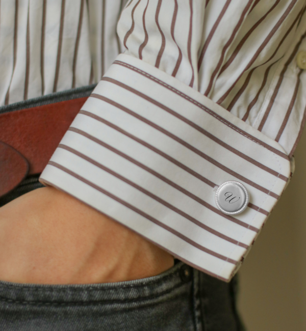 KAYA sieraden Engraved Cufflinks 'Beaded'
