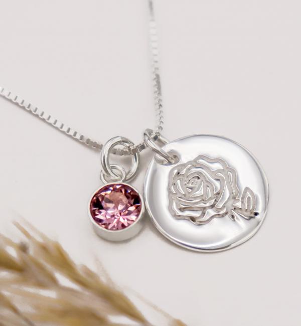 KAYA sieraden Zilveren Geboortesteen- en  Bloem Ketting