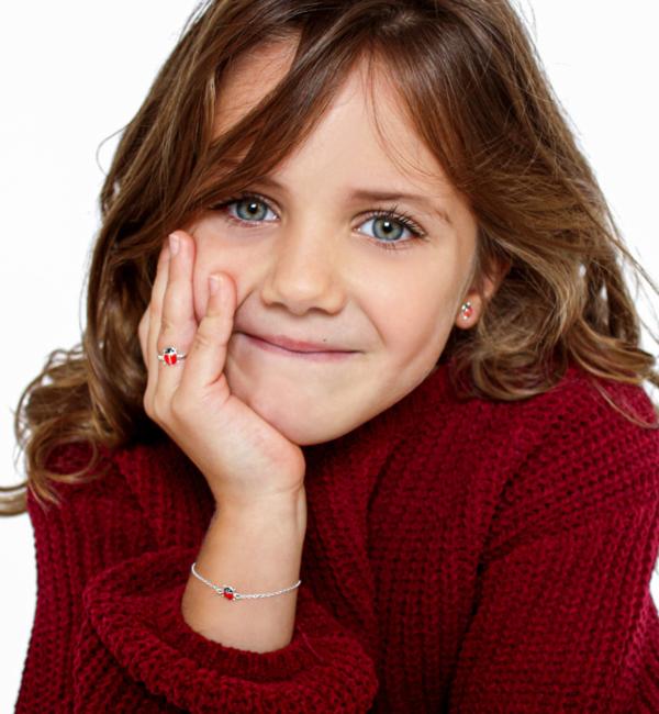 KAYA sieraden Zilveren kinderoorbellen 'Lieveheersbeestjes'