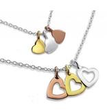 Silver Mom & Me chains 'three hearts'
