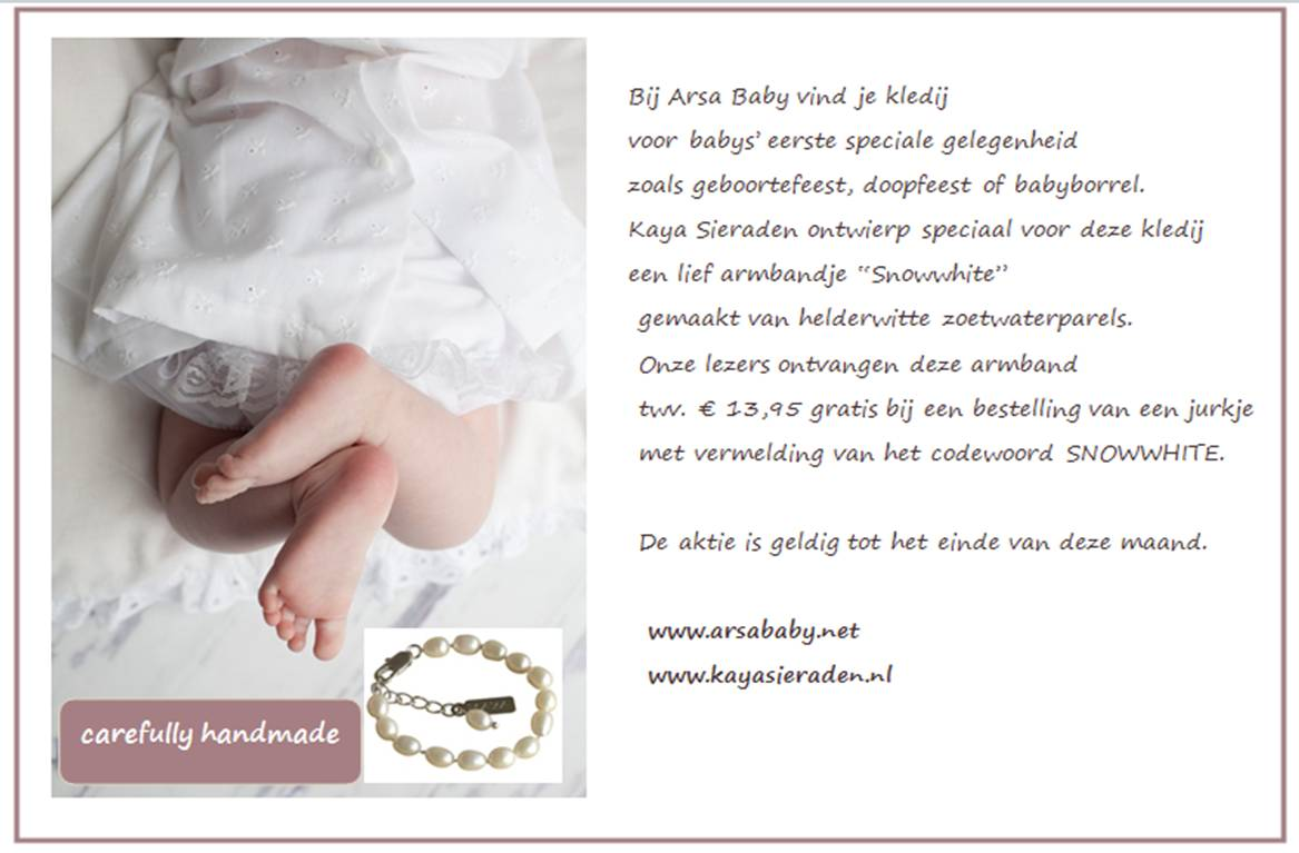 Bij aankoop doopkledij nu dooparmbandje van KAYA gratis