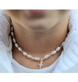 """KAYA Communion silver necklace """"Little Diva"""" with crystal cross"""