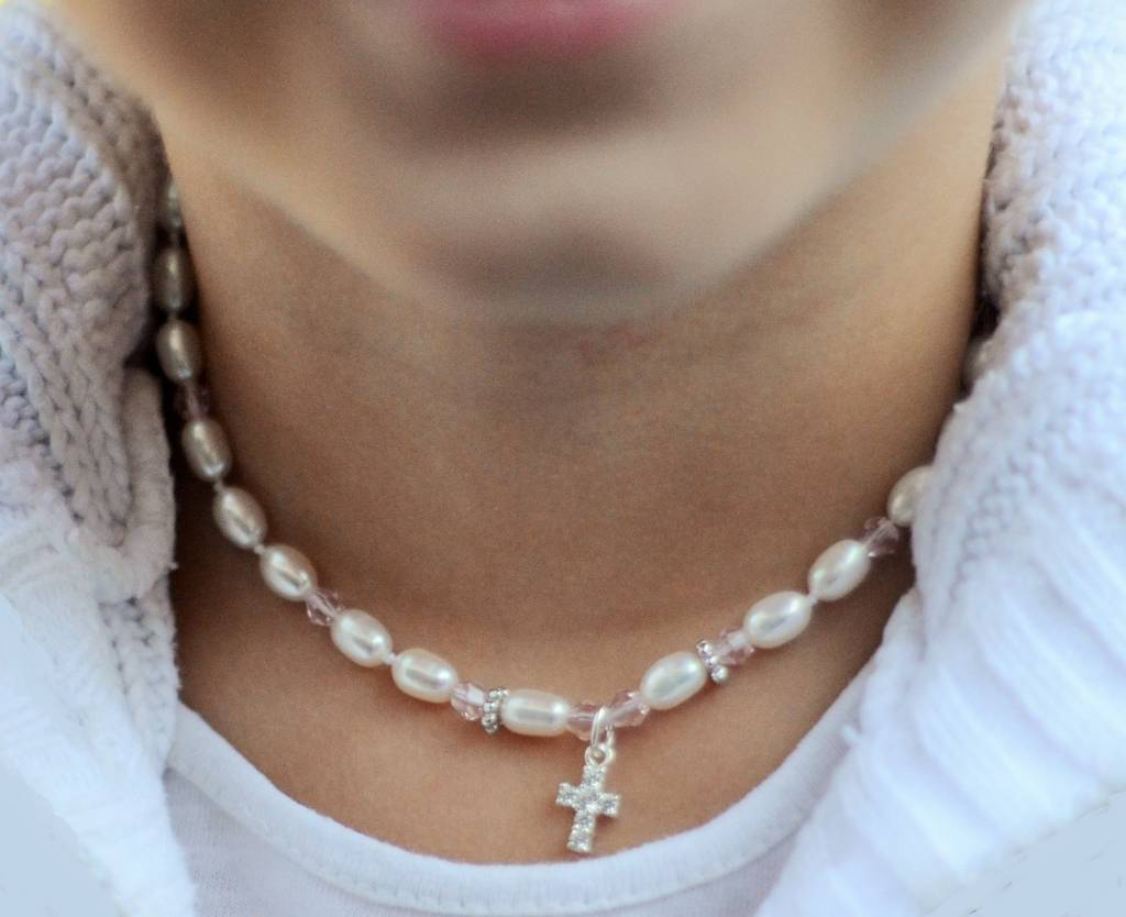 """Communion silver necklace """"Little Diva"""" with crystal cross"""