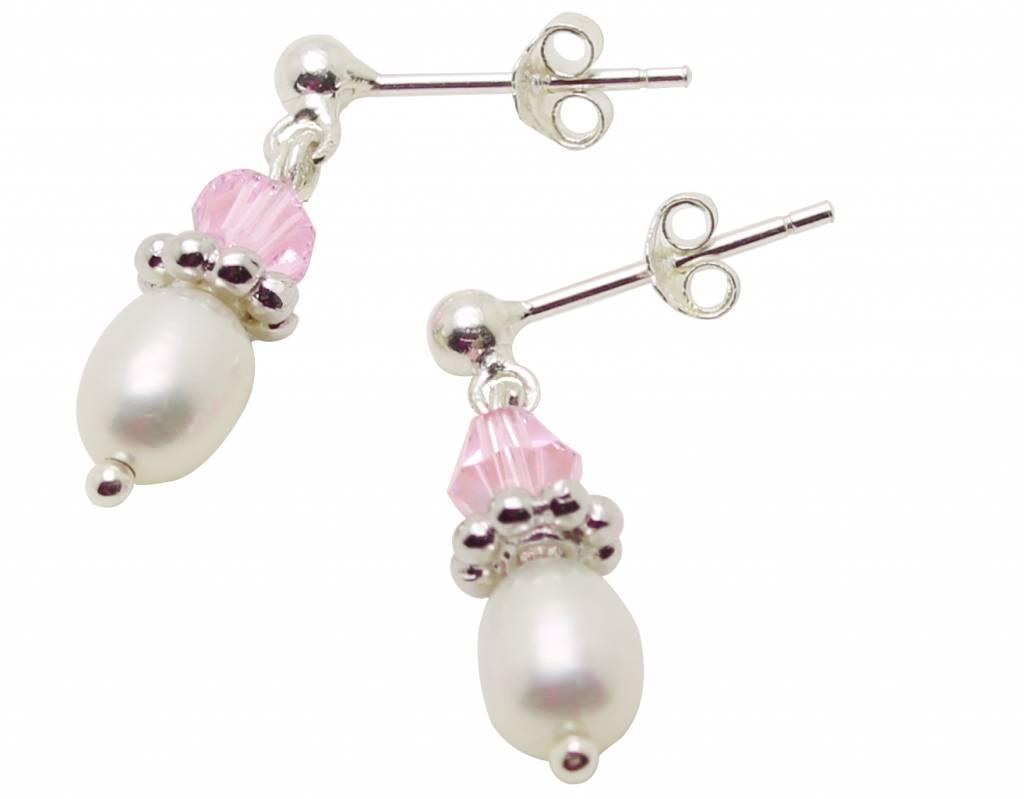 KAYA Zilveren pareloorbellen 'Infinity Pink'