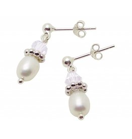 KAYA Silver Pearl Earrings 'Sparkles White'