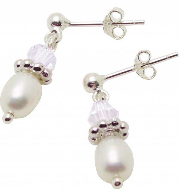 KAYA sieraden Zilveren pareloorbellen 'Infinity White'