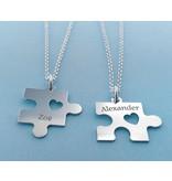 Names 2 Silver friendship necklaces 'puzzle pieces'