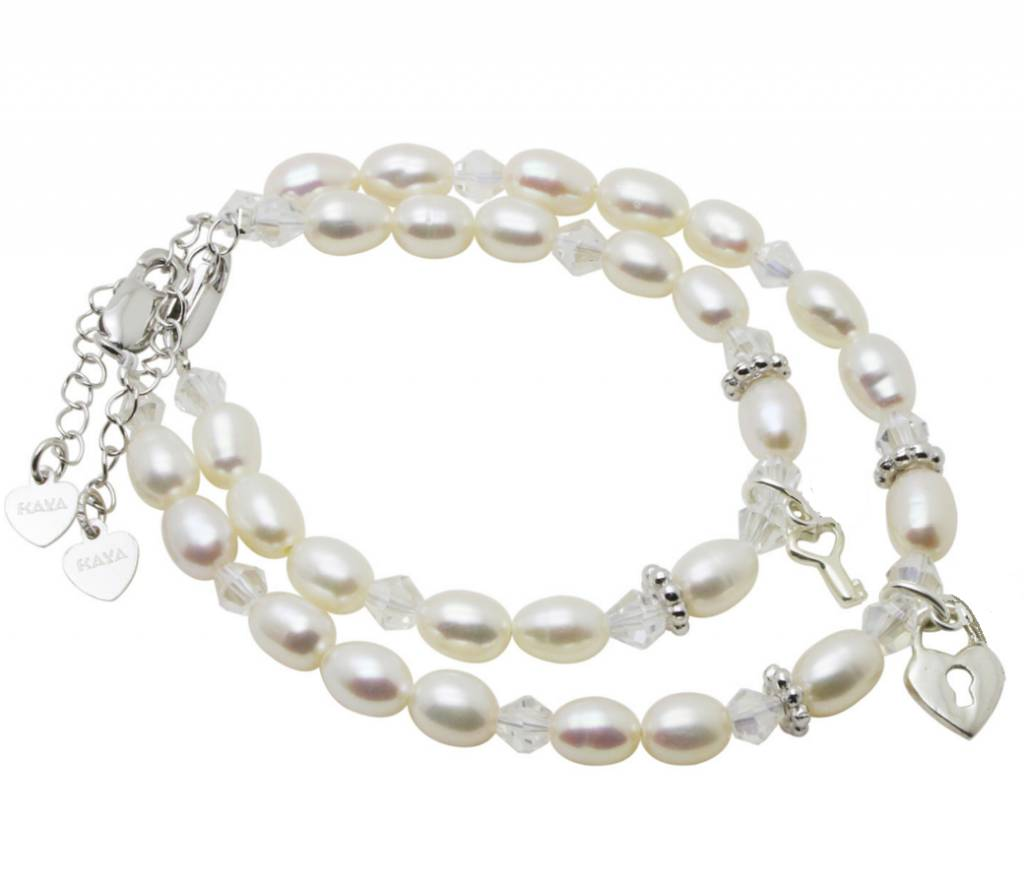 KAYA sieraden Silver Mom & Me bracelets Sparkles 'Key'