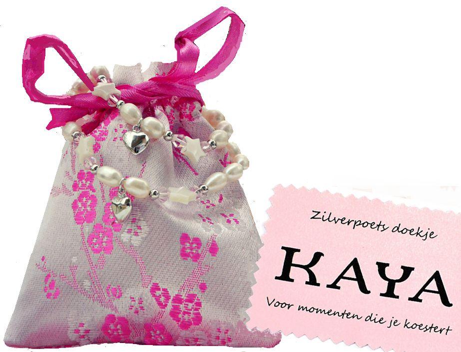 KAYA sieraden Rozenkrans & Armband 'Roze of Wit'