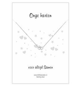 KAYA Wenskaart 'Onze harten samen' dubbel hartje