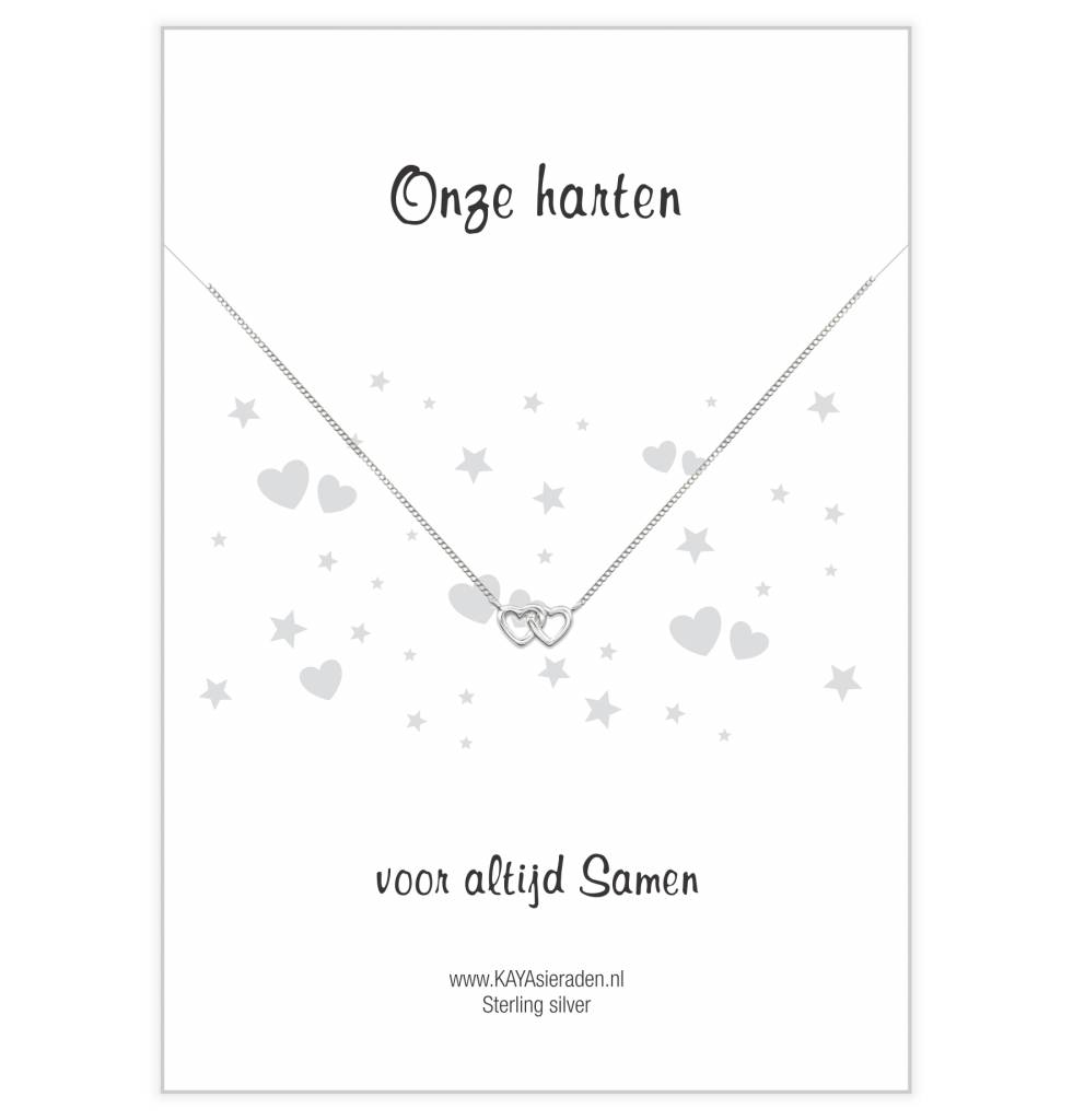 """KAYA sieraden Postcard """"Our hearts together 'double heart"""