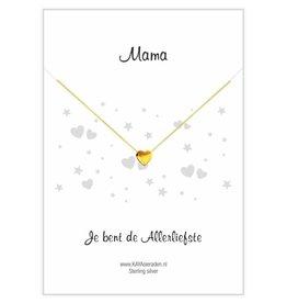 Gouden hartje ketting 'Mama, je bent de allerliefste'