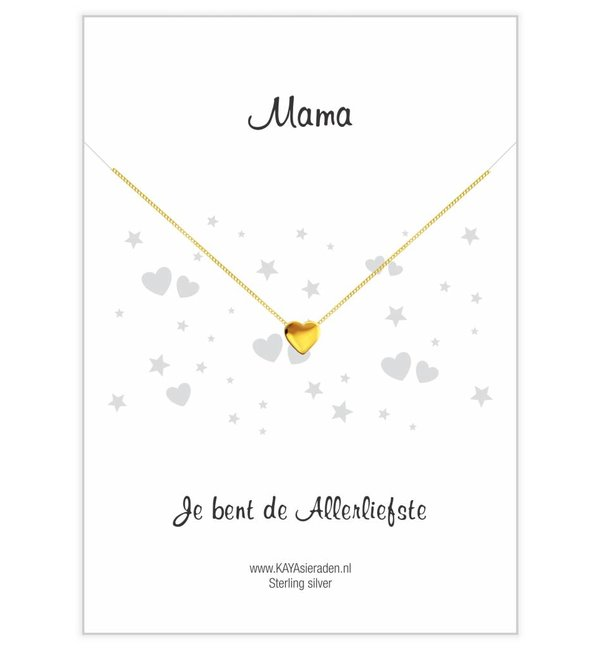 "KAYA sieraden Gold necklace with heart ""Mom, you're the sweetest '"