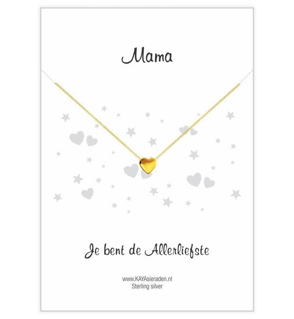 KAYA sieraden Wenskaart 'Mama, je bent de allerliefste' met Ketting 'Golden Heart'