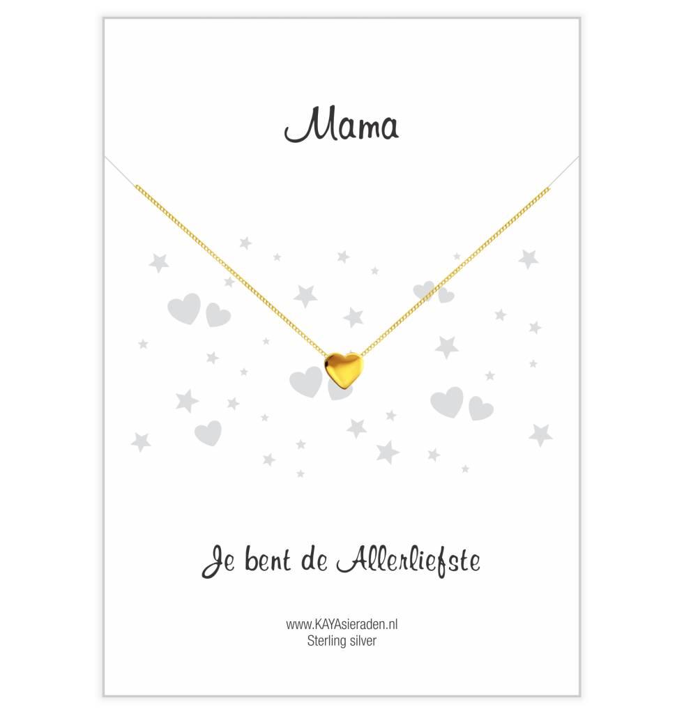 KAYA Gouden ketting met hartje 'Mama, je bent de allerliefste'