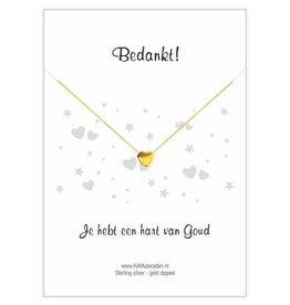 KAYA Gold heart necklace 'Thank you, you have a heart of gold'