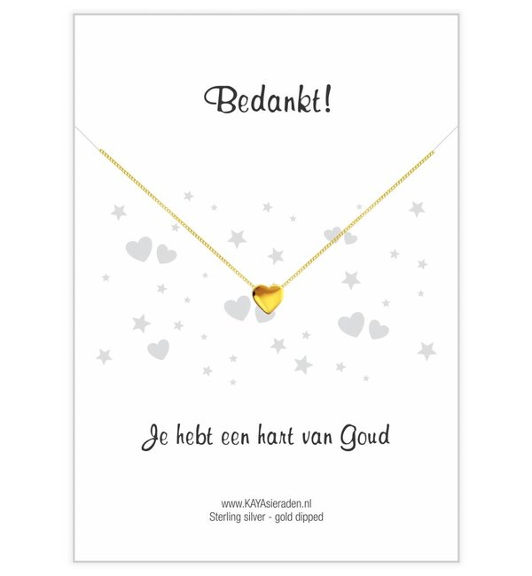 KAYA sieraden Wenskaart 'Bedankt, je hebt een hart van goud' met ketting 'Golden Heart'