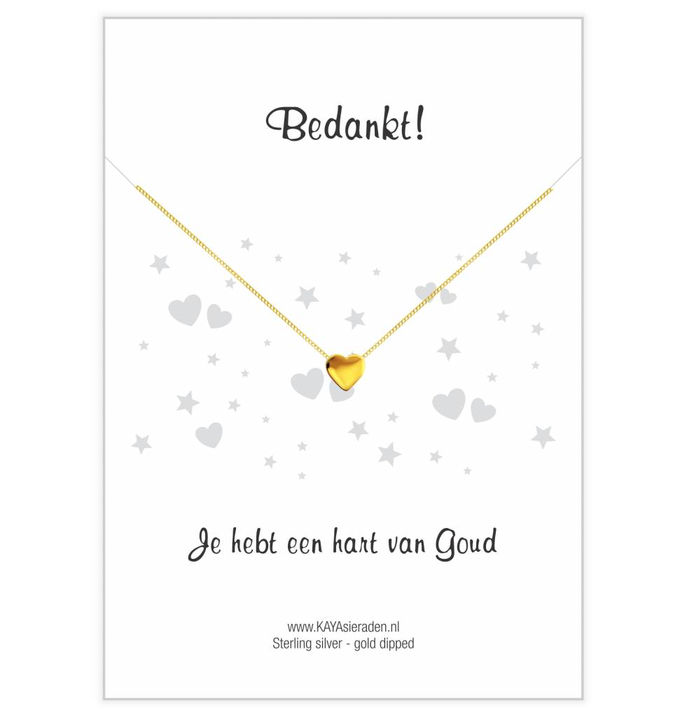 KAYA sieraden Gold heart necklace 'Thank you, you have a heart of gold'