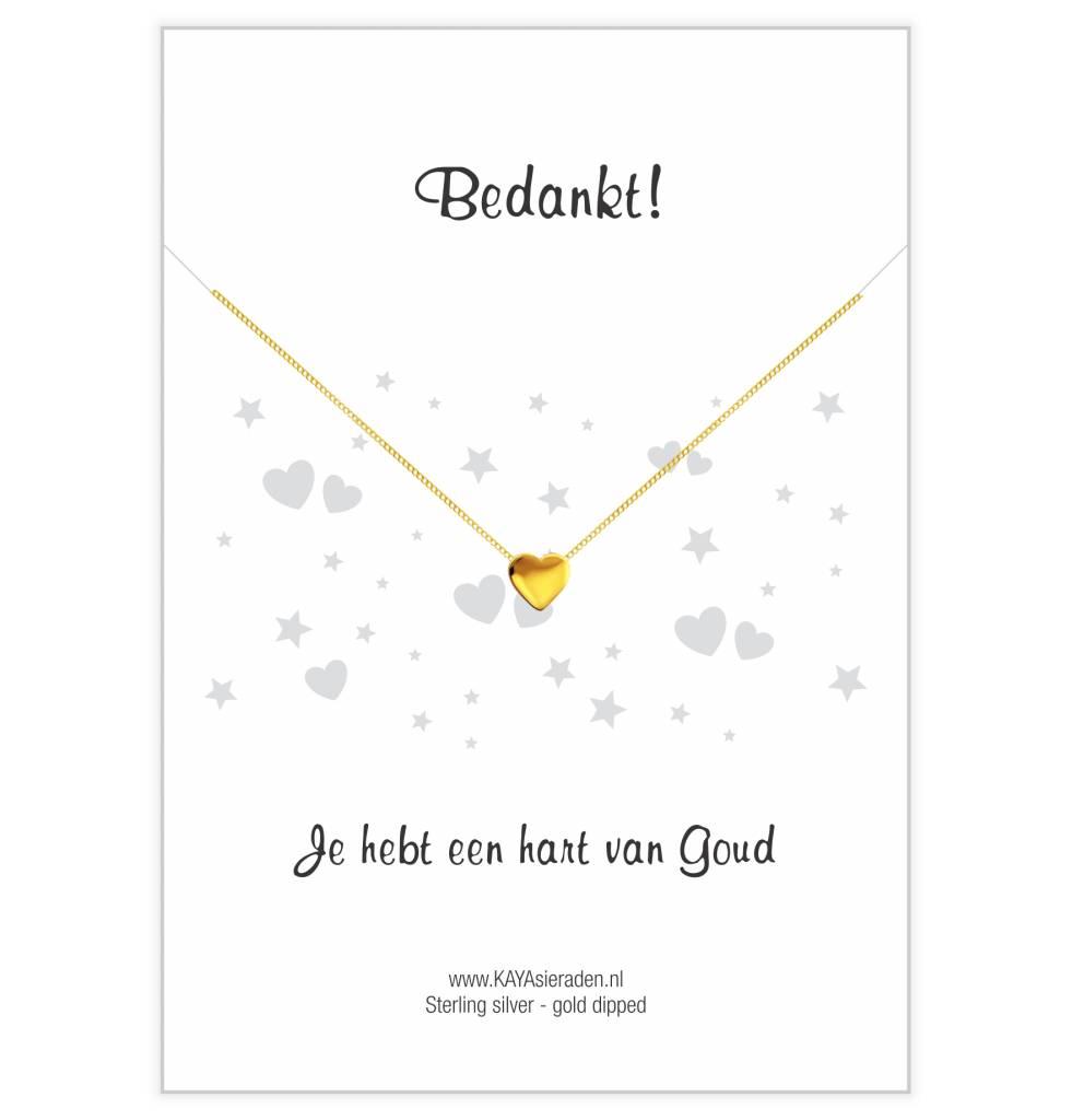 Wenskaart 'Bedankt, je hebt een hart van goud' met ketting 'Golden Heart'
