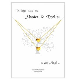 KAYA sieraden Card Mother & Daughter 'golden hearts'