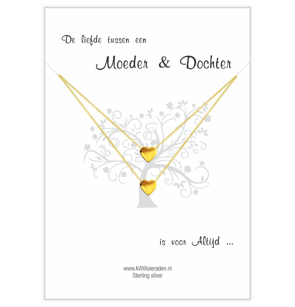 KAYA sieraden Card Mother & Daughter 'golden hearts'