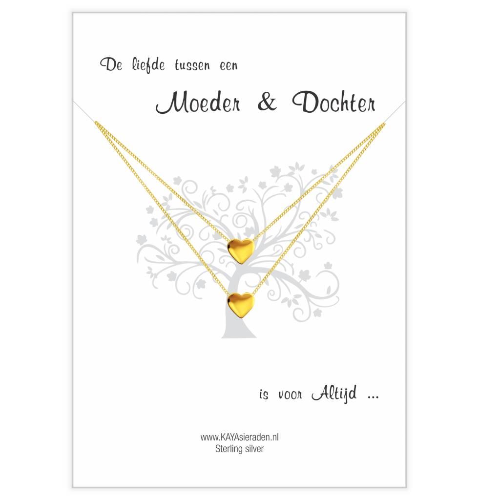 KAYA sieraden Wenskaart 'De liefde tussen een moeder en dochter is voor altijd' met twee 'Golden Heart' kettingen