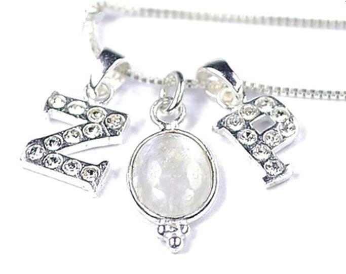 KAYA Zilveren Crystal Voorletter bedel ★voor aan ketting★