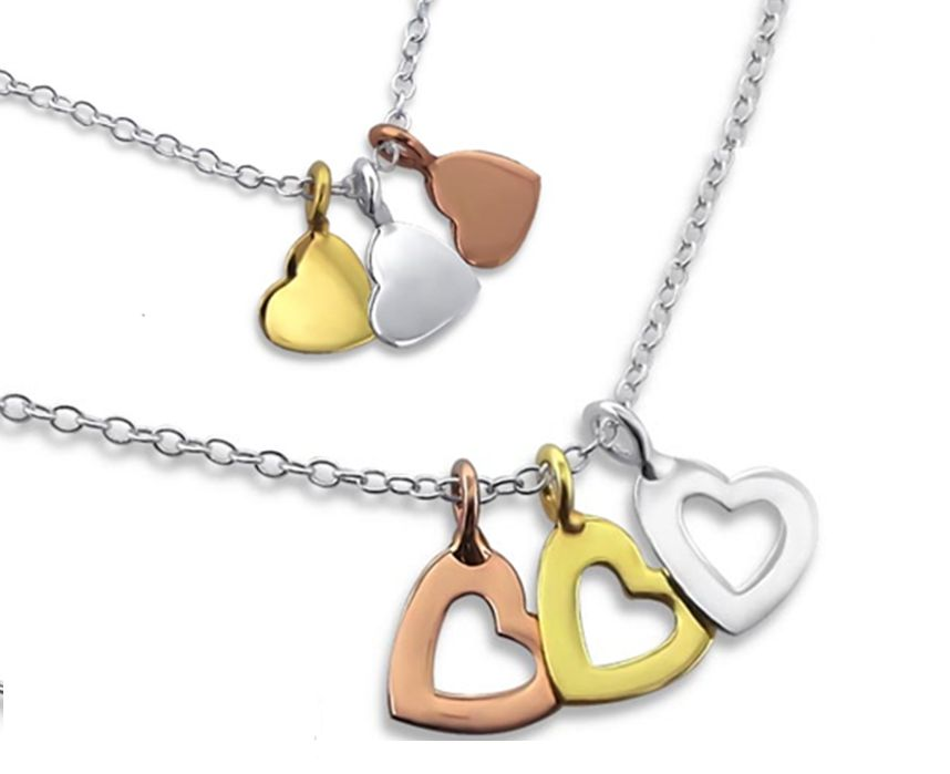 KAYA Silver necklace with three colors hearts