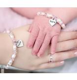 Armband 'Infinity Pink' met voornaam bedel