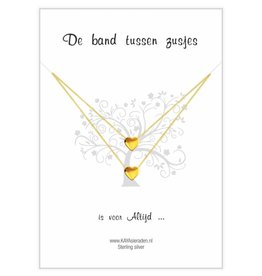 "KAYA sieraden Postcard ""The bond between sisters' gold hearts"
