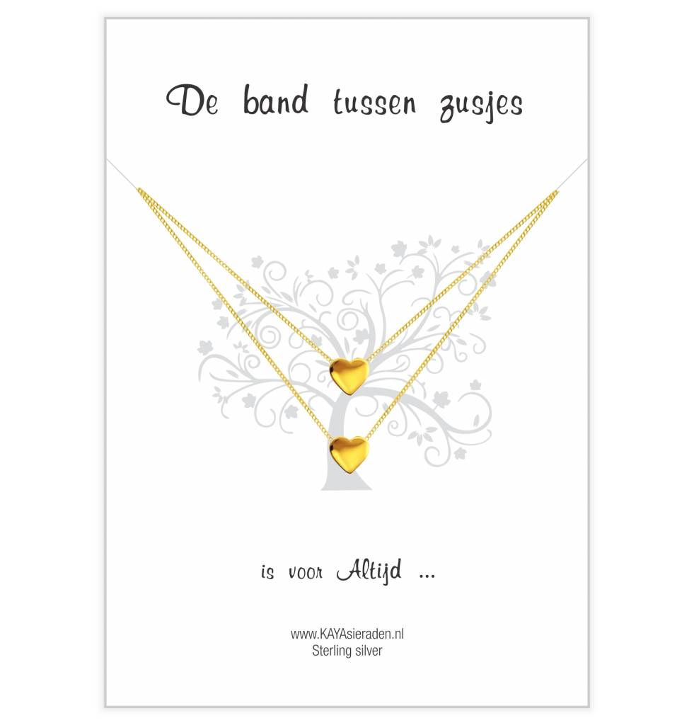 "KAYA sieraden Postcard ""The bond between sisters' gold hearts"