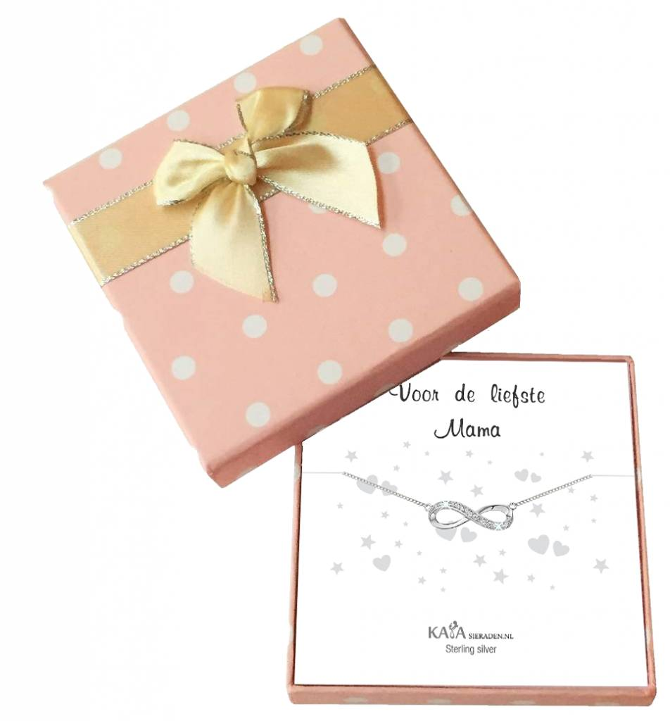 Cadeaudoosje 'Voor de liefste mama' met armband Infinity Crystal