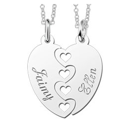 Sieraden 2 Silver friendship necklaces 'puzzle pieces' - Copy